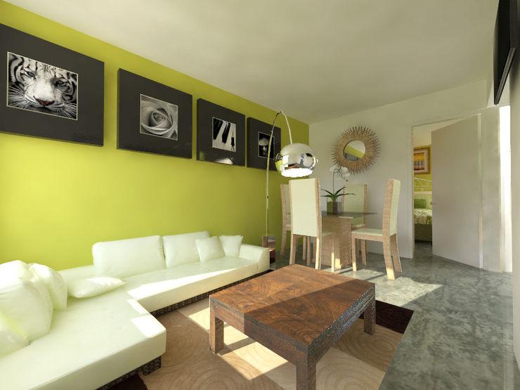 homify Modern Living Room Reinforced concrete Green