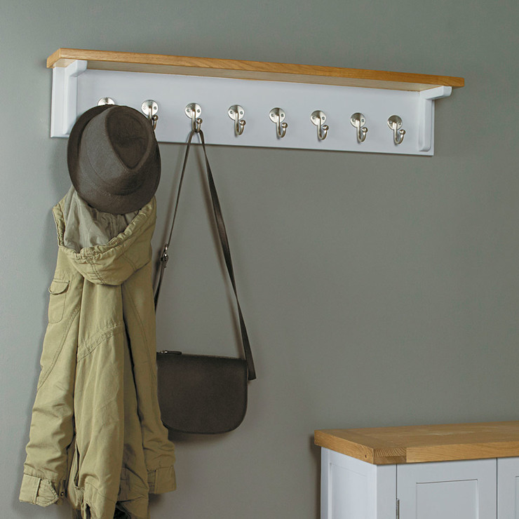 Chadwick Grey Painted Coat Shelf Asia Dragon Furniture from London Corridor, hallway & stairs Clothes hooks & stands Solid Wood Grey