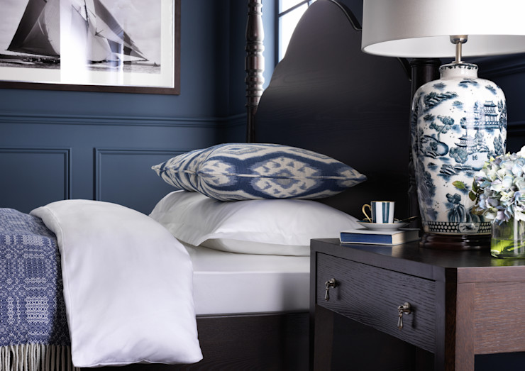 SS16 Style Guide - Coastal Elegance - Bedroom LuxDeco Country style bedroom Blue
