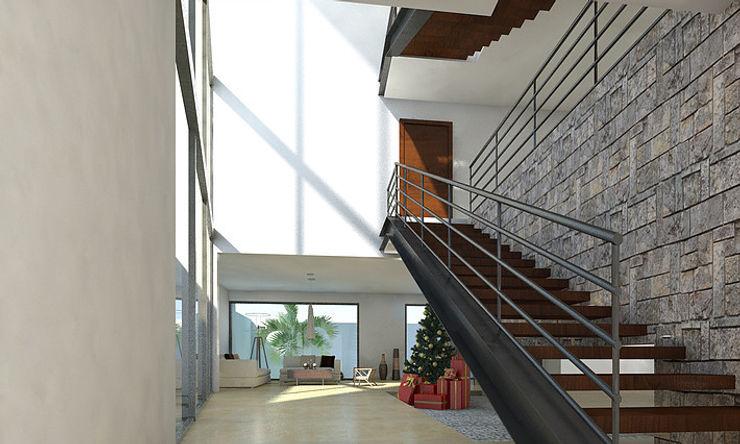 AParquitectos Modern corridor, hallway & stairs Wood