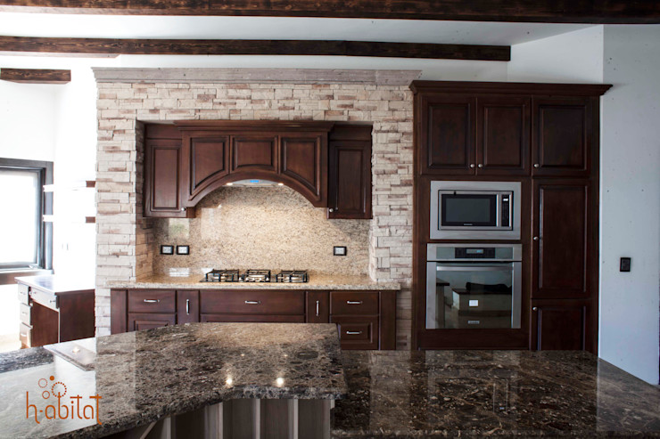 H-abitat Diseño & Interiores Kitchen Marble Wood effect