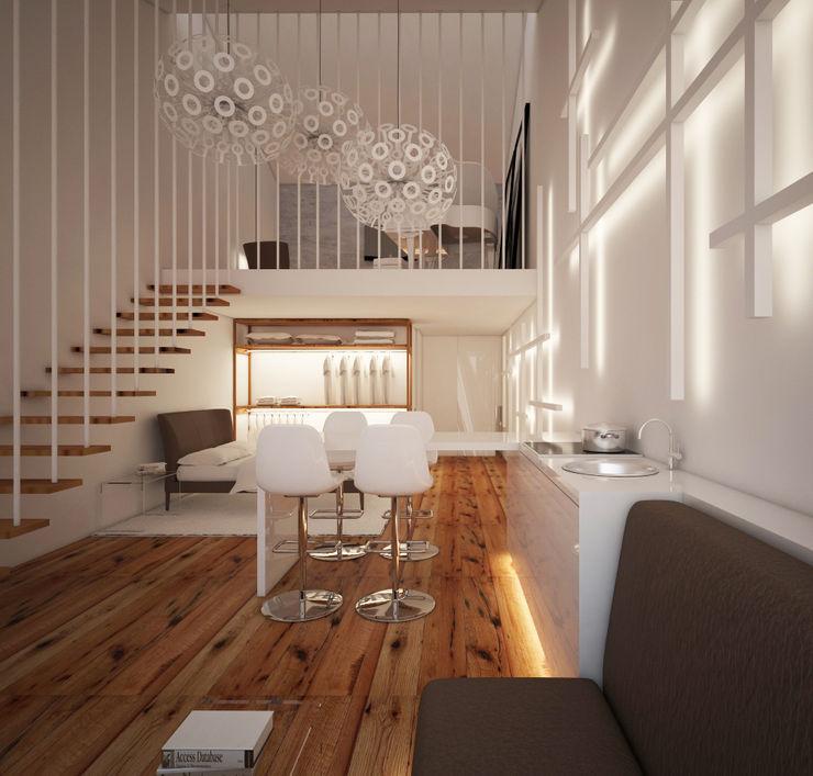 Arquitecto Aguiar Minimalist living room Plywood Wood effect