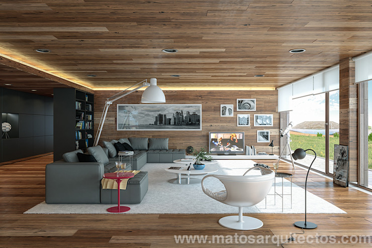 House by River side Matos Architects غرفة المعيشة خشب نقي Wood effect