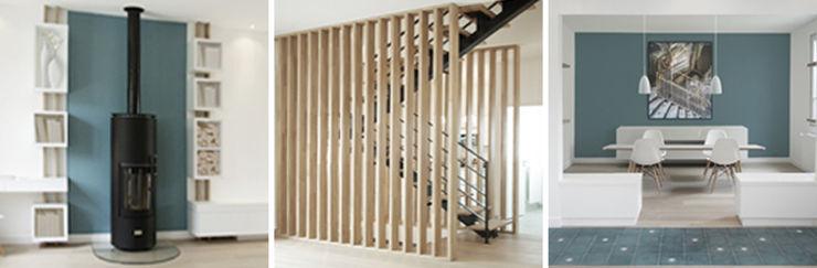 Rénovation lourde et surélévation d'une maison à Nogent S/Marne. 182m² . Yeme + Saunier Couloir, entrée, escaliers minimalistes
