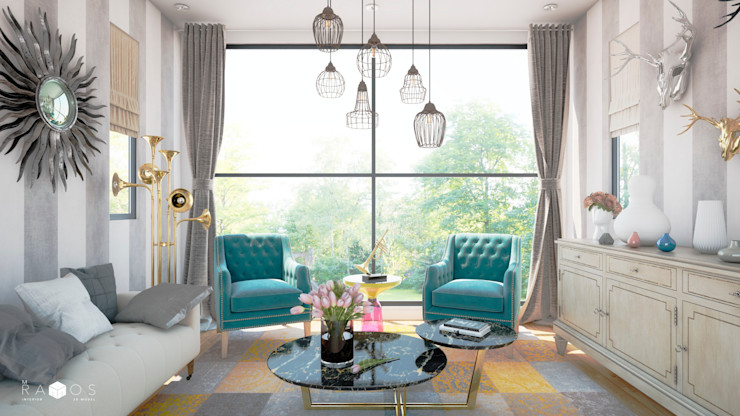 MRamos Eclectic style living room Copper/Bronze/Brass Turquoise