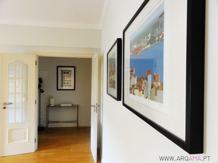 ARQAMA - Arquitetura e Design Lda Scandinavian style corridor, hallway& stairs Wood White