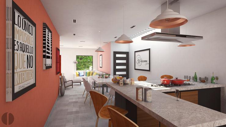 Laboratorio Mexicano de Arquitectura Cocinas de estilo minimalista Concreto Rosa