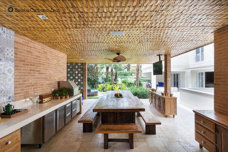 Forro com esteira trançada de Bambu BAMBU CARBONO ZERO Cozinhas rústicas Bambu Efeito de madeira