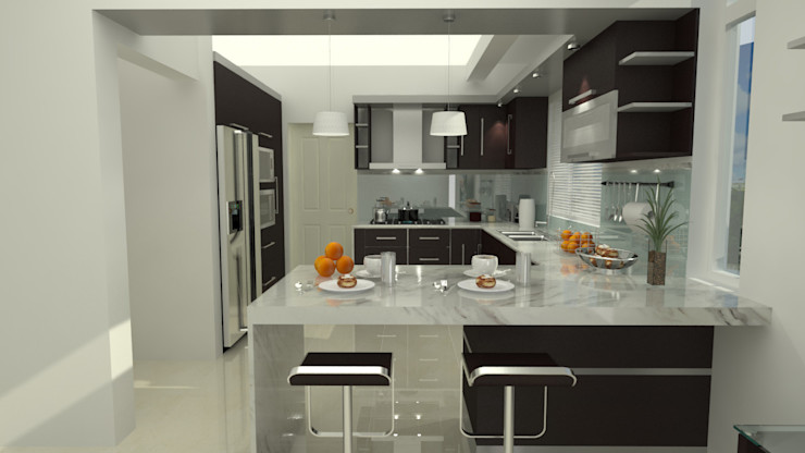 homify Modern Kitchen Solid Wood Brown