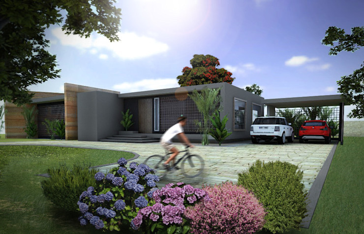 Fachada Principal homify Casas de estilo moderno Hormigón Gris