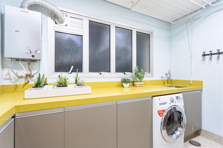 Área de Serviço Clean Motirõ Arquitetos Cozinhas ecléticas Amarelo