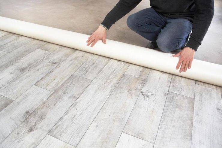 Pavimento PVC, posa in opera Tucommit Camera da letto moderna
