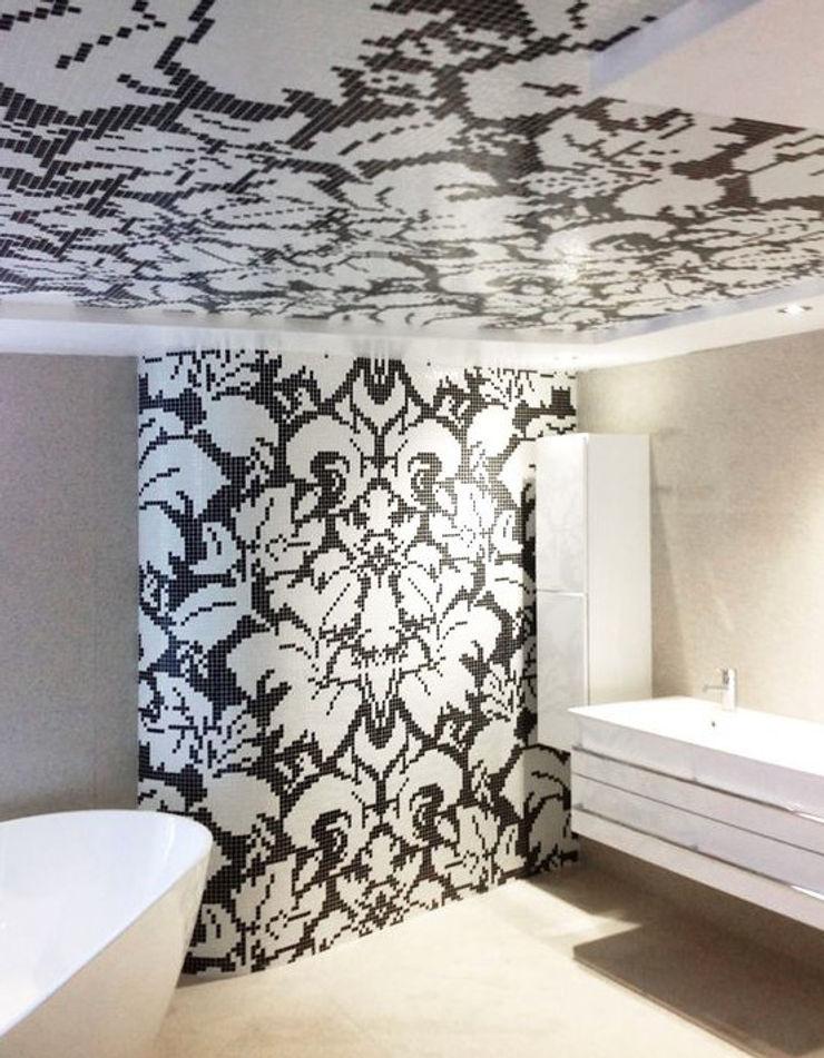 trend group Modern style bathrooms Tiles Black