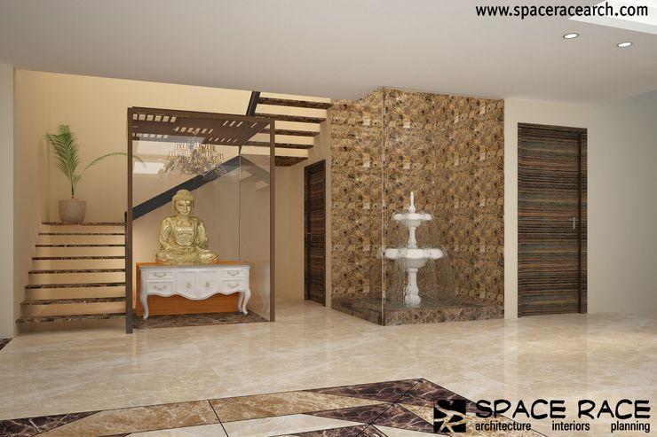 Residence at Lajpat Nagar Jalandhar (Bantu Sabhawal) SPACE RACE ARCHITECTS Classic style corridor, hallway and stairs