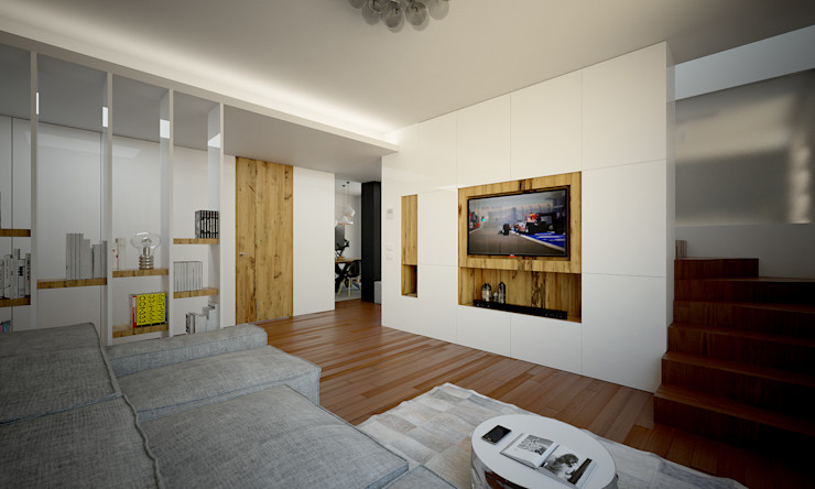 Render foto-realistico zona tv QUADRASTUDIO Bianco