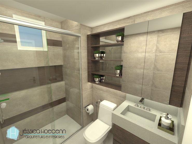 Apartamento AeC Arquiteta Jéssica Hoegenn - Arquitetura de Interiores Banheiros modernos Efeito de madeira