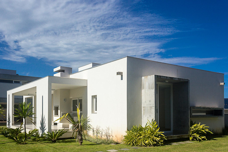 PJV Arquitetura Casas modernas Concreto Blanco