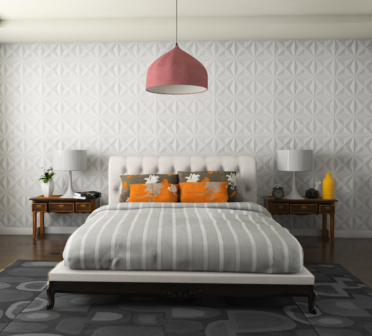 MAGEN | Revestimentos Cimentícios Minimalist bedroom Concrete Amber/Gold