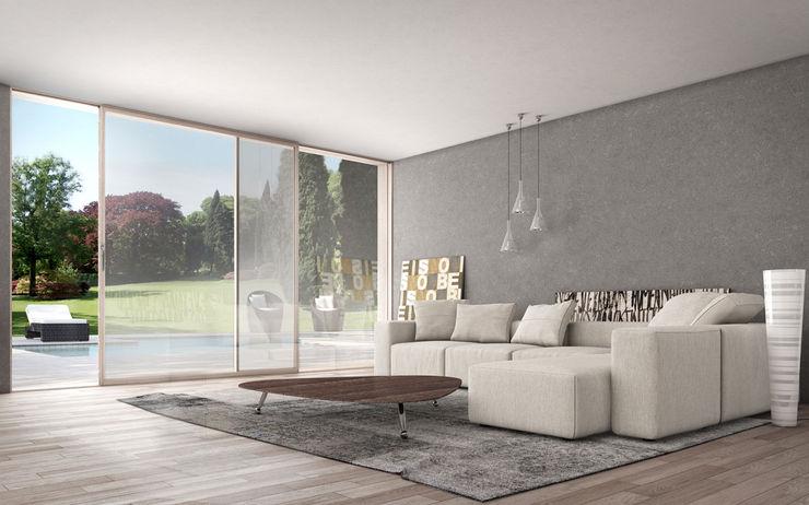 Vetrate scorrevoli minimal Wa.lor. S.a.s. di Dalla Costa Massimiliano & C. Finestre & Porte in stile minimalista Legno Effetto legno