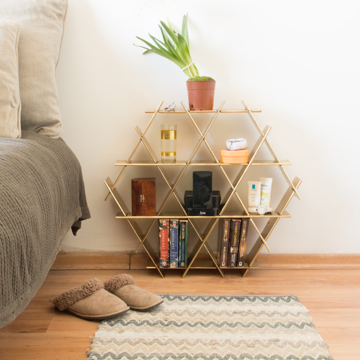 Cardboard Medium Ruche - Nightstand, Bedside Table Ruche shelving unit BedroomAccessories & decoration Paper Metallic/Silver