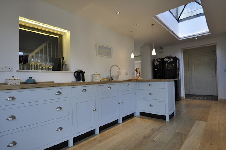 Kitchen extension O2i Design Consultants Country style kitchen Wood Blue