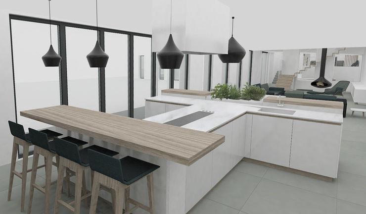 Yeme + Saunier Minimalist kitchen Marble White