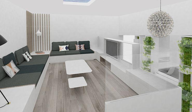 Yeme + Saunier Minimalist media room MDF White