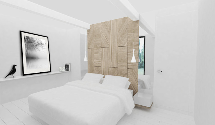 Yeme + Saunier Scandinavian style bedroom Solid Wood White