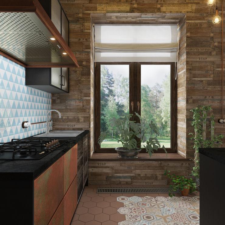 3D GROUP Industrial style kitchen Copper/Bronze/Brass Brown