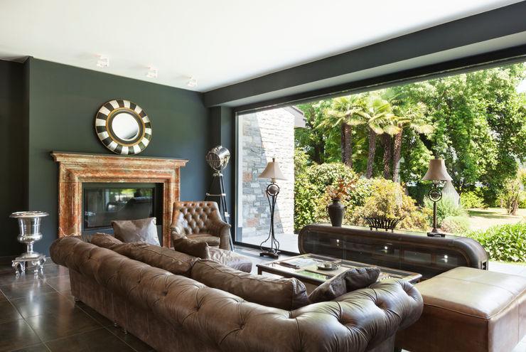 Dark Moody Living Space Gracious Luxury Interiors Living room Green