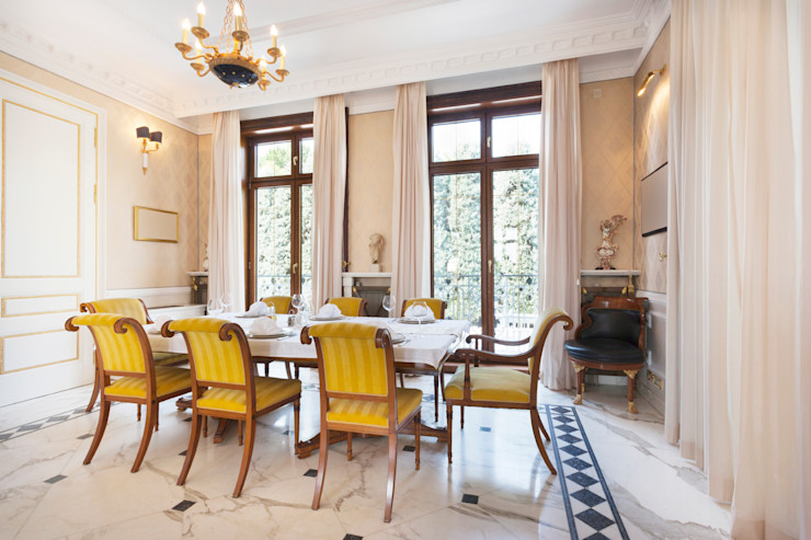 Traditional Regal Dining Area Gracious Luxury Interiors Classic style dining room Amber/Gold