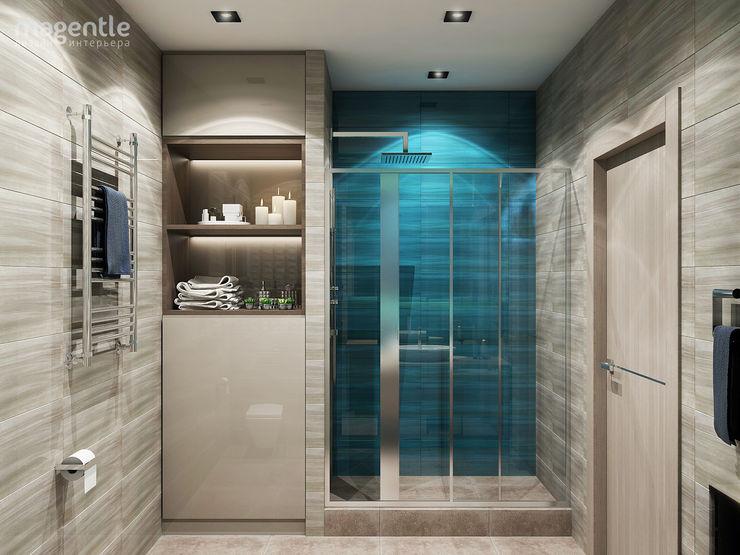 MAGENTLE Baños de estilo minimalista Azulejos Azul