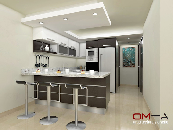 om-a arquitectura y diseño Modern Kitchen Wood-Plastic Composite Brown
