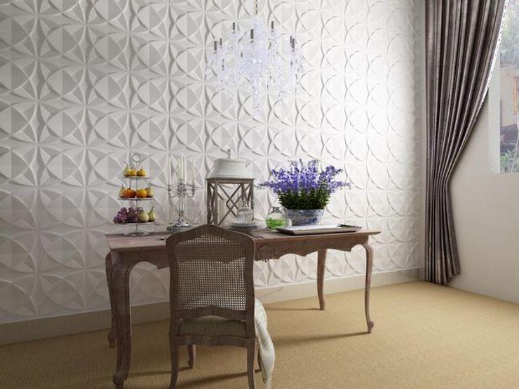 Paredes Decorativas 3D COSMOS A EXCLUSIVA - Sustainable Buildings Materials Parede e pisoDecoração de parede Fibra natural Branco