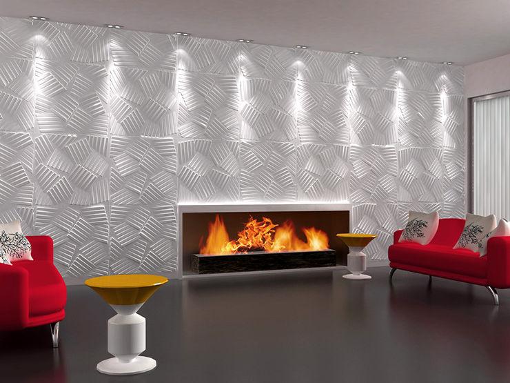 Paredes Decorativas 3D JASPER A EXCLUSIVA - Sustainable Buildings Materials Parede e pisoDecoração de parede Fibra natural Branco