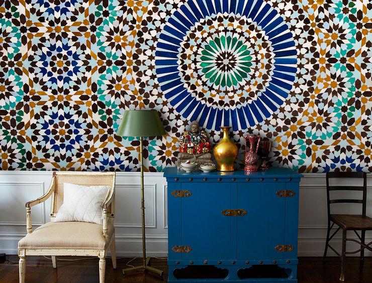 Moroccan Tiles Pixers Phòng khách phong cách thực dân Blue