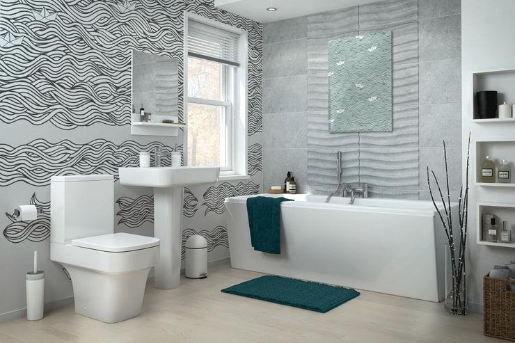 Black&White waves Pixers Modern bathroom