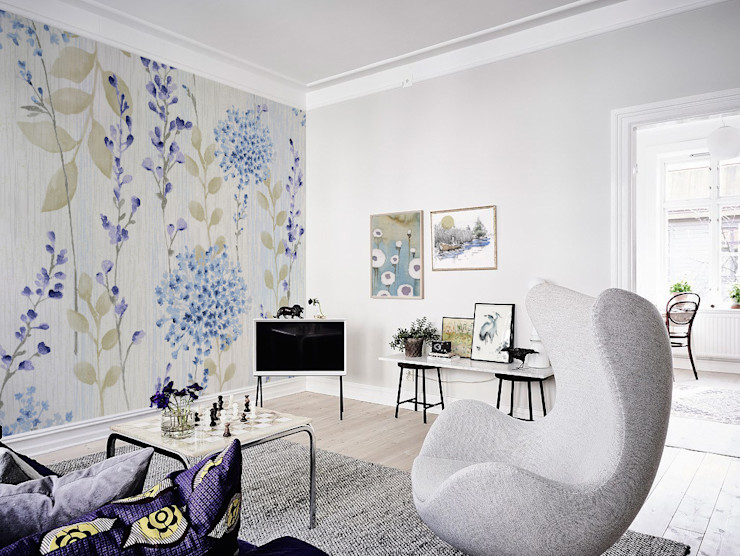 Violet Flowers Pixers Eclectic style living room Multicolored