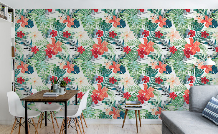Tropical Flowers Pixers Minimalist dining room Multicolored
