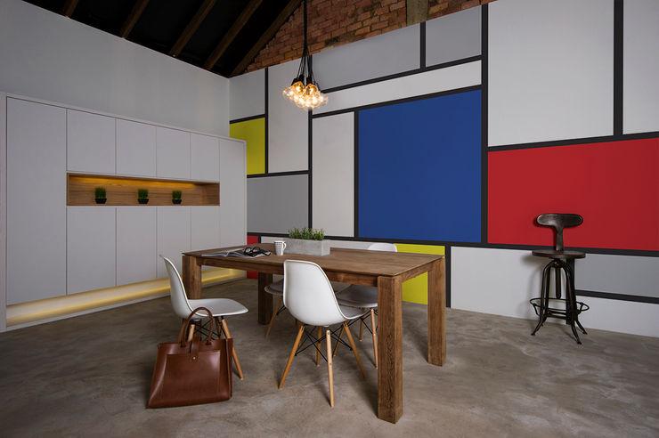 Mondrian Pixers Minimalist dining room Multicolored