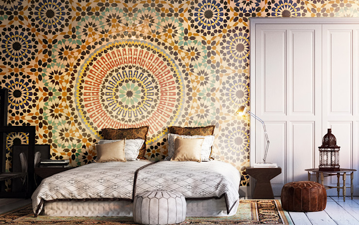 Oriental Mosaic Pixers Colonial style bedroom Multicolored