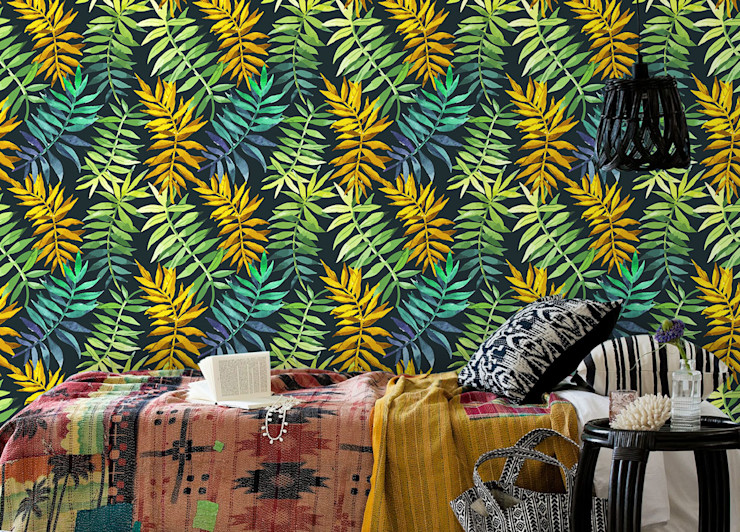 Green&Yellow Pixers Tropical style bedroom Multicolored