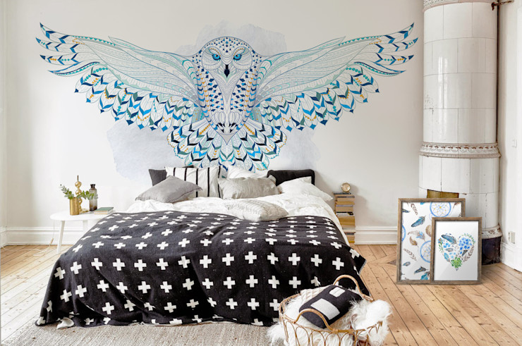 Snowy Owl Pixers Scandinavian style bedroom Blue