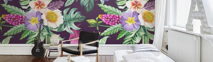 Purple Flowers Pixers Tropical style bedroom Purple/Violet