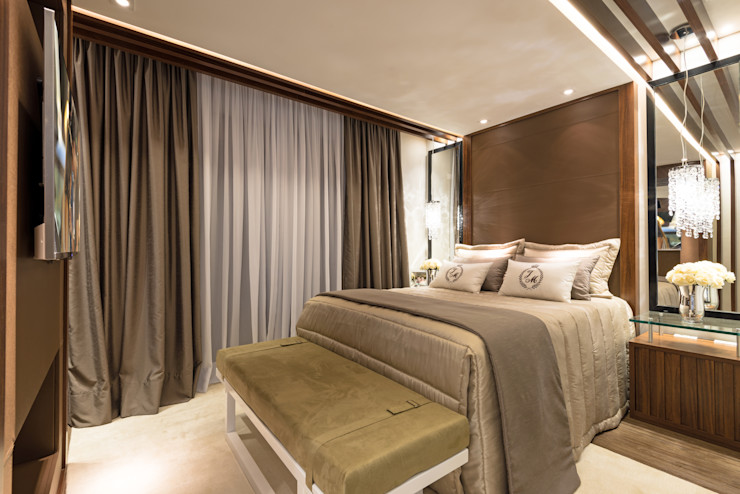 Designer de Interiores e Paisagista Iara Kílaris Dormitorios modernos Marrón