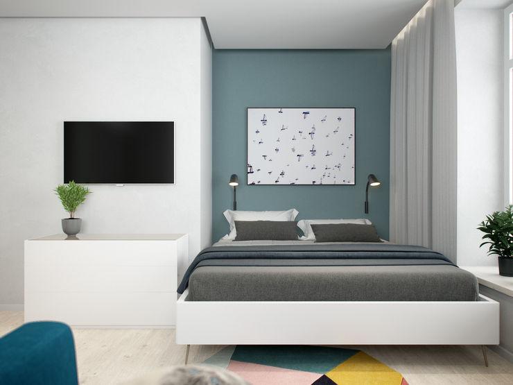 Country House in Tomsk EVGENY BELYAEV DESIGN Scandinavian style bedroom