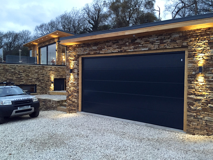 New House overlooking a Reservoir Robin Ashley Architects Modern garage/shed Stone