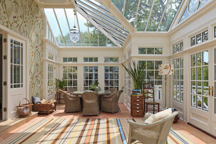 Grand Conservatory on a Substantial Channel Islands Property Vale Garden Houses Classic style conservatory Wood White