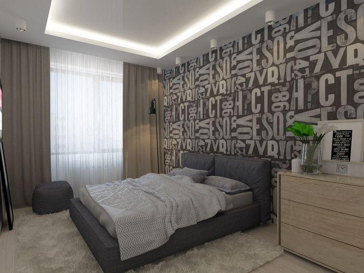 3к.кв. в ЖК Атлант (58,9 кв.м) ДизайнМастер Спальня в стиле модерн