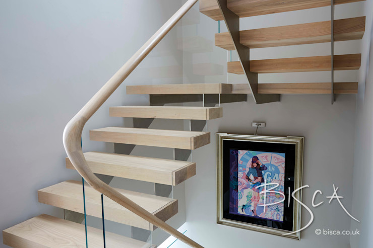 Multi Flight Staircase Design by Bisca Bisca Staircases Modern Corridor, Hallway and Staircase